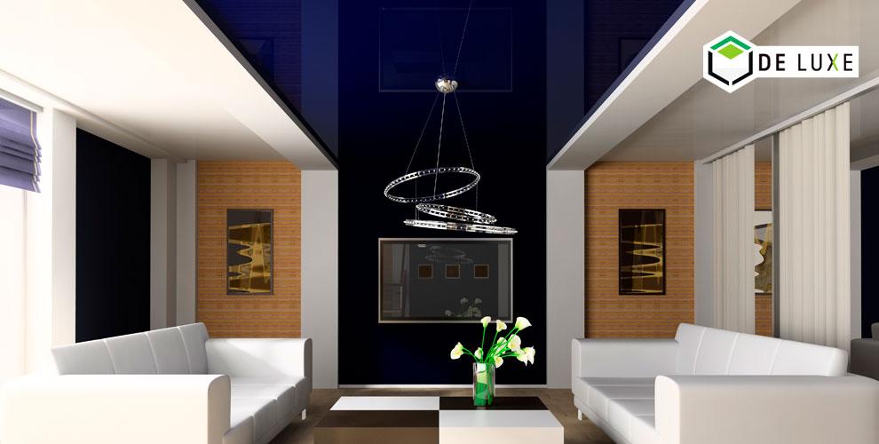 Изготовление имонтаж цветных глянцевых натяжных потолков откомпании DeLuxe
