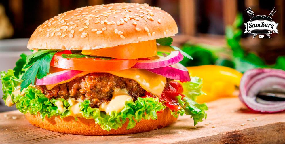 Сеты из бургеров, сэндвичи, стейки и другое от службы доставки SamBurg