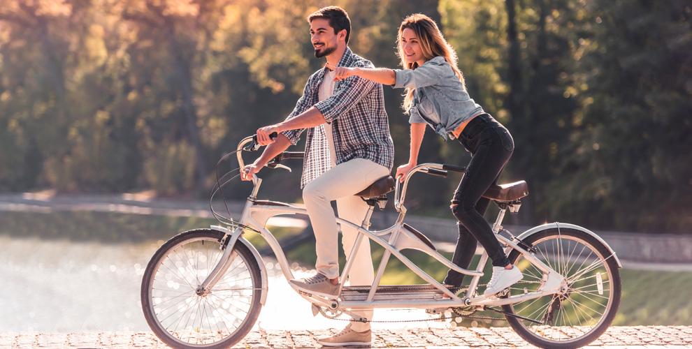 Прокат велосипеда-тандем икомплекта защиты, катание нагироскутере отBIGBOB